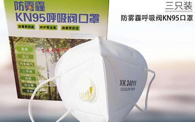 防雾霾KN95呼吸阀口罩(三只装)